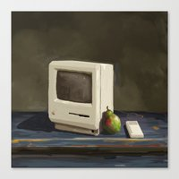 computer Canvas Prints featuring Pear Computer by Uri Tuchman