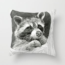 Raccoon In A Hollow Tree Drawing Throw Pillow