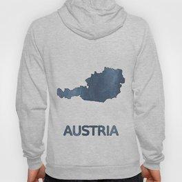 Austria map outline Dark blue clouded watercolor Hoody