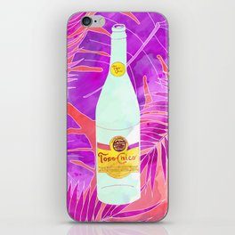 Topo Chico Art - Seltzer Bottle Texas Print with Tropical Background iPhone Skin