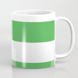 Even Horizontal Stripes, Green and White, XL Coffee Mug