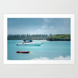 Boat on the water at Kuto Bay on the Isle of Pines Art Print