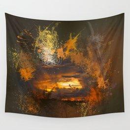 Exploding vibrant sunset Wall Tapestry