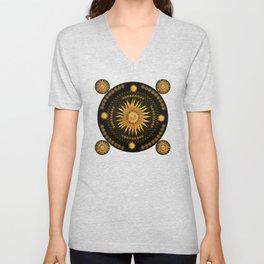 """Black & Gold Vault Mandala"" Unisex V-Neck"