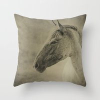 mustang Throw Pillows featuring AMERICAN MUSTANG by Christina Lynn Williams