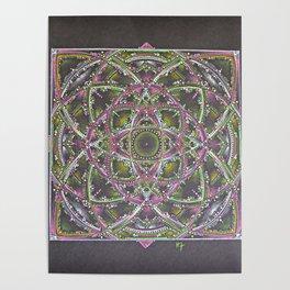 Green and Purple Mandala Poster