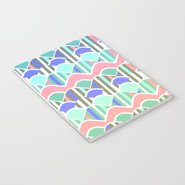 Colorful waves- upside down Notebook