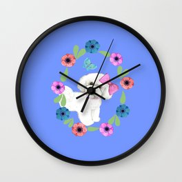 Bichon Frise Dog with butterfly and flowers on blue Wall Clock
