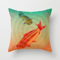 goldfish Throw Pillows featuring Goldfish by Connie Goldman