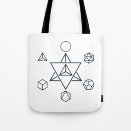 Merkaba and the Platonic Solids, Sacred Geometry Tote Bag