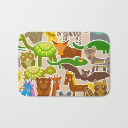 collection Funny cartoon Animals seamless pattern on beige background. Vector Bath Mat