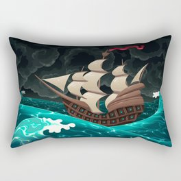 Galleon in the sea.  Rectangular Pillow