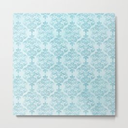 Blue Turquoise Damask Watercolor Baroque Pattern Metal Print