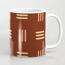 Mid Century Modern Patterned Lines (Mahogany) Coffee Mug