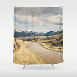 The Road to Snowy Mountains Shower Curtain