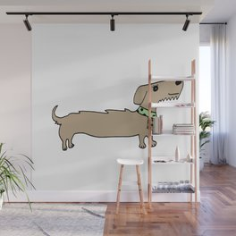 Daschund with scarf Wall Mural