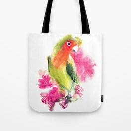 watercolor illustration with bird lovebirds. lovebird parrot on a branch with flowers Tote Bag