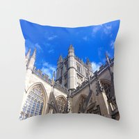 downton abbey Throw Pillows featuring Bath Abbey by Casey J. Newman
