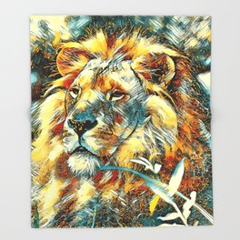AnimalArt_Lion_20170605_by_JAMColors Throw Blanket