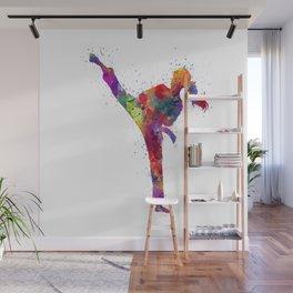 Karate Girl Colorful Watercolor Martial Arts Gift Wall Mural