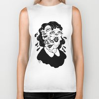 agnes Biker Tanks featuring Europa, Agnes and Phyllis by Anna Lisa Illustration