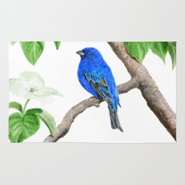 Royal Blue-Indigo Bunting in the Dogwoods by Teresa Thompson Rug