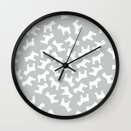 Silver Schnauzers - Simple Dog Silhouettes Pattern Wall Clock