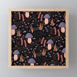 Mushroom Garden Dark Framed Mini Art Print