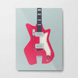 Retro 60s Surf Rock Electric Guitar - Slate Metal Print