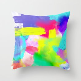 Neon Emotion | Abstract Stripes Neon Artistic Watercolor Pattern Throw Pillow