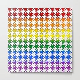 Houndstooth Large Rainbow Bevel Metal Print