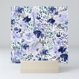 Floral Chaos - Blue Mini Art Print
