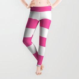 Brilliant rose -  solid color - white stripes pattern Leggings