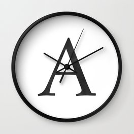 Letter A Initial Monogram Black and White Wall Clock