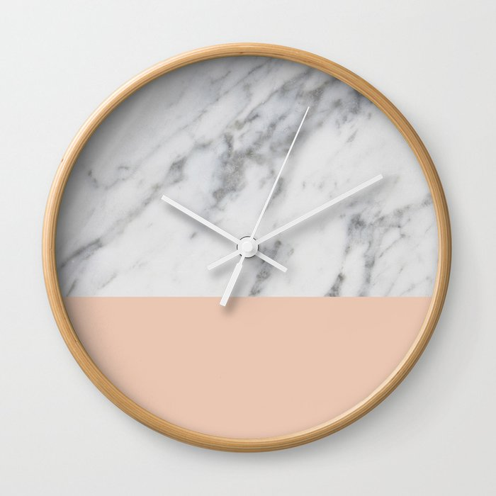 Marble and Blush Pink Wall Clock by hellograce