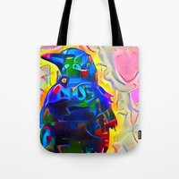 dramatical murder Tote Bags featuring Attempted Murder by Bunny Clarke