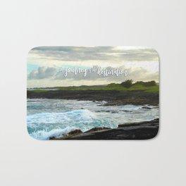 """The journey is the destination"" Hawaii black sand beach photo Bath Mat"