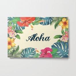Aloha Floral Print Metal Print