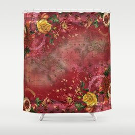 Vintge Cartography World Map wth Red Flora Arrangements Shower Curtain