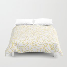 Doodle Line Art | Yellow Lines on White Background Duvet Cover