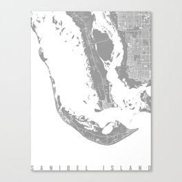 Sanibel island map grey Canvas Print