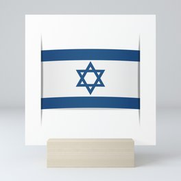 Flag of Israel. Vector illustration of a stylized flag. The slit in the paper with shadows Mini Art Print