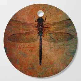 Dragonfly On Orange and Green Background Cutting Board