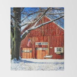 Red Barn Throw Blanket