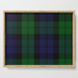 chainsaw blue & green - holiday and everyday black blue tartan black watch plaid check Serving Tray