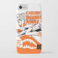 bombs away iPhone & iPod Cases featuring CHERRY BOMBS AWAY PIN-UP GIRL by Chandelina