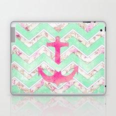 Pink Nautical Anchor Teal Floral Chevron Pattern Laptop & iPad Skin