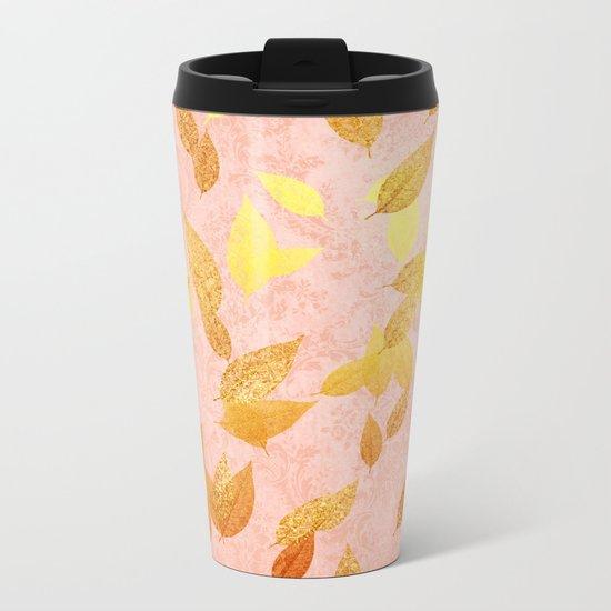 Autumn-world 2 - gold glitter leaves on pink backround Metal Travel Mug