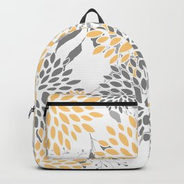 Floral Prints,  Leaves and Blooms, Gray and Yellow Backpack