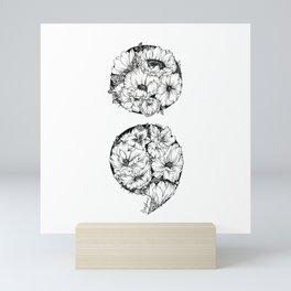 floral semicolon Mini Art Print